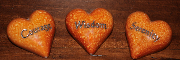 Courage, Wisdom and Serenity hearts